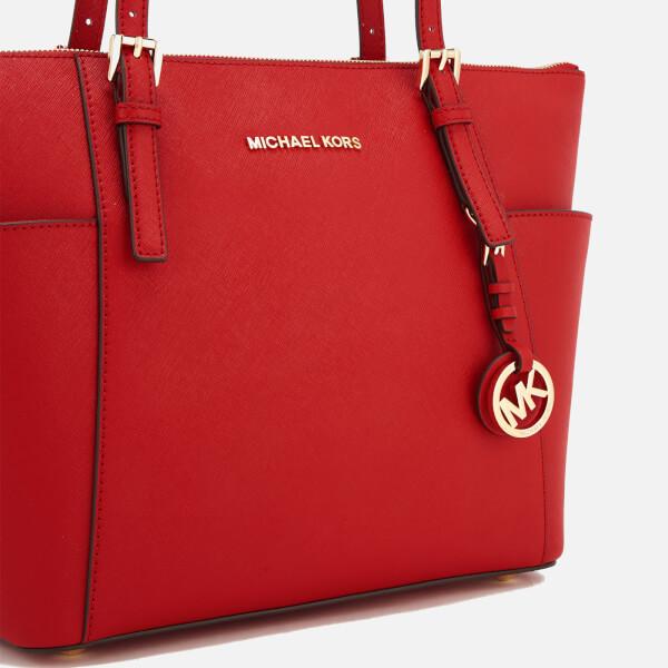 3641c9e6965e MICHAEL MICHAEL KORS Women's Jet Set East West Top Zip Tote Bag - Bright  Red: