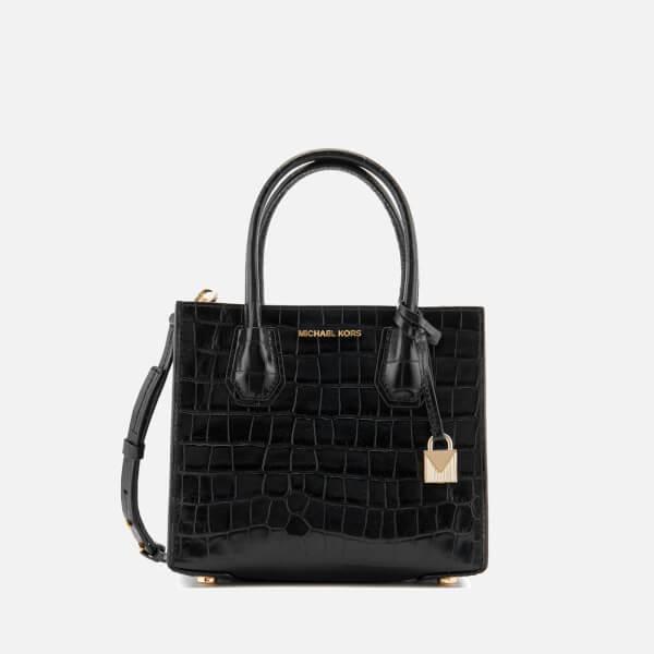 MICHAEL MICHAEL KORS Women's Mercer Croc Medium Messenger Bag - Black