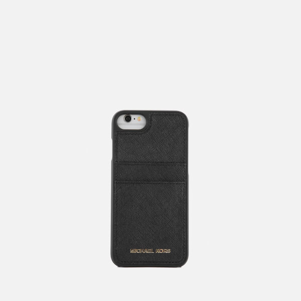 michael michael kors women 39 s leather iphone 7 cover black. Black Bedroom Furniture Sets. Home Design Ideas
