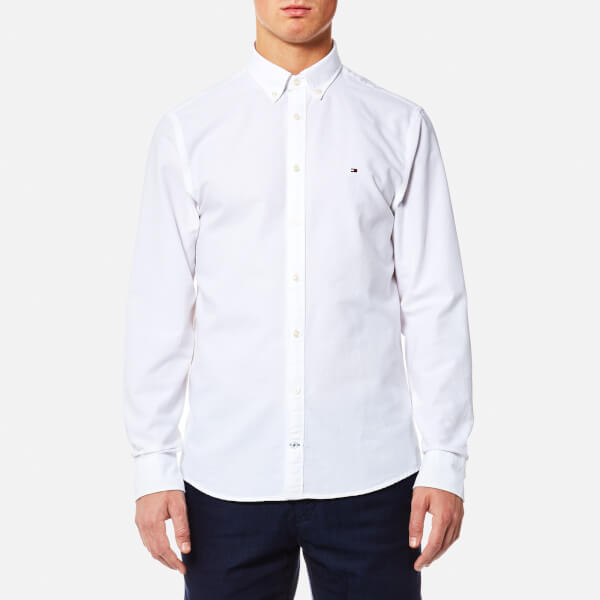09b1abe4b3004b Tommy Hilfiger Men s Engineered Oxford Long Sleeve Shirt - Bright White   Image 1