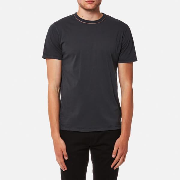 Officine Générale Men's Piping Neck Pigment Dye T-Shirt - Faded Black