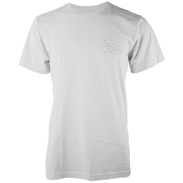 Origami Dinosaur Pocket Print T-Rex White T-Shirt