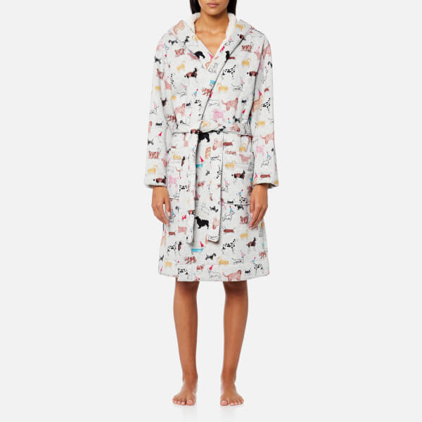 Joules Women\'s Idlewhile Fluffy Inner Dressing Gown - Grey Multi ...