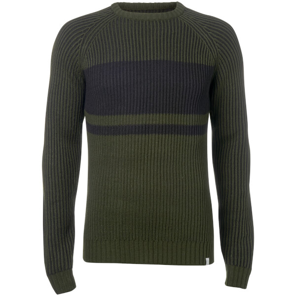 Jack & Jones Men's Core Seattle Block Fisherman Jumper - Olive