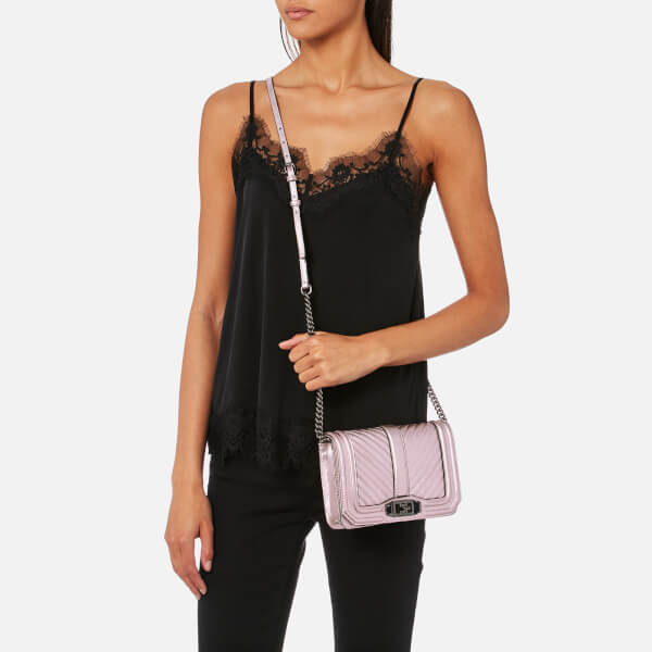 e3f66f4f37d0 Rebecca Minkoff Women s Chevron Quilted Small Love Cross Body Bag -  Metallic Lilac  Image 3