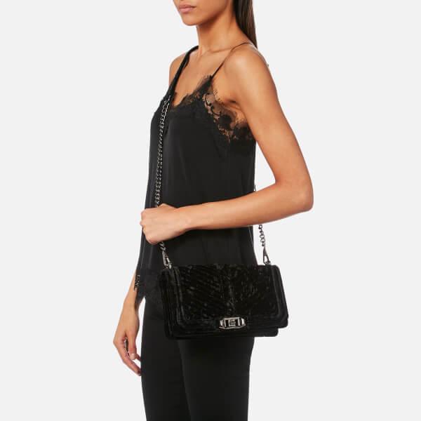 c369daffebc0 Rebecca Minkoff Women s Chevron Velvet Quilted Love Cross Body Bag - Black   Image 3