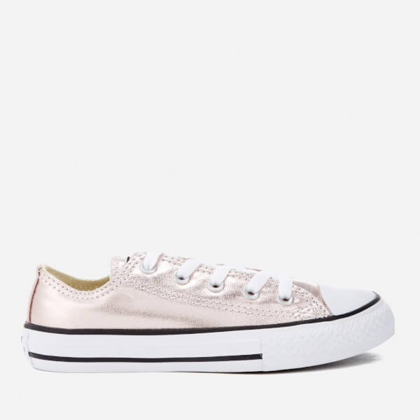Converse Kids Chuck Taylor All Star Metallic Ox Trainers - Rose Quartz White  Black 98874f1ef