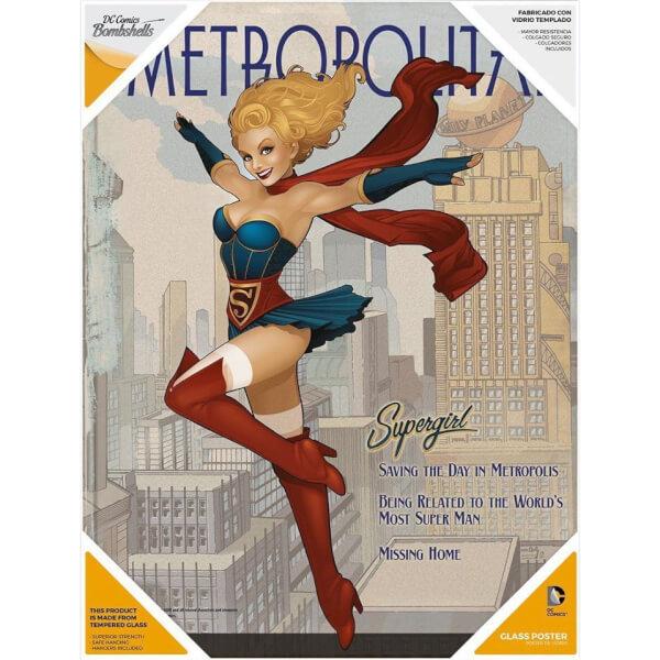 DC Comics Bombshells Glass Poster - Supergirl (30 x 40cm)