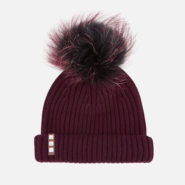BKLYN Women's Merino Wool Hat with Black/Cherry Pom Pom - Maroon
