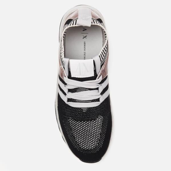 2a25695d5141 Armani Exchange Women s Knit Runner Trainers - Black Womens Footwear ...
