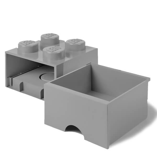 brique de rangement lego 4 tenons gris my geek box. Black Bedroom Furniture Sets. Home Design Ideas