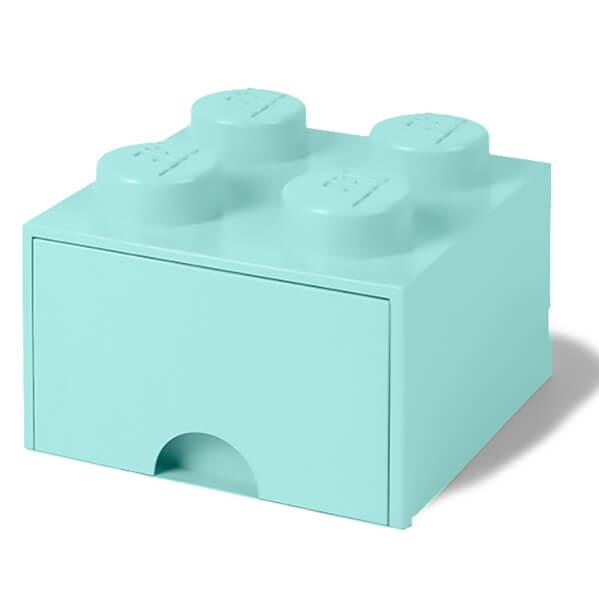 LEGO Storage 4 Knob Brick - 1 Drawer (Aqua Light Blue) Toys | Zavvi
