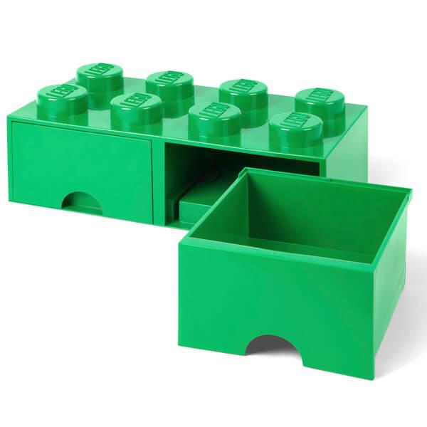 LEGO Storage 8 Knob Brick - 2 Drawers (Dark Green) Toys | Zavvi ...