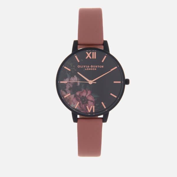 Olivia Burton Women's After Dark Watch - Black Dial/Rose Floral