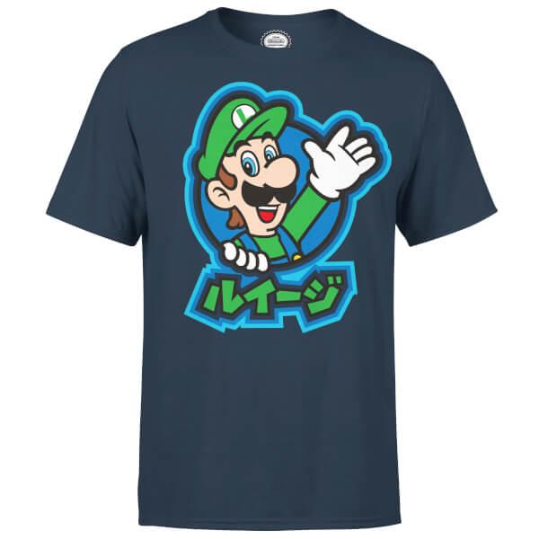 Nintendo Luigi Kanji Men's Navy T-Shirt