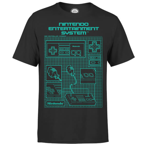 Nintendo nes controller blueprint black t shirt clothing zavvi us nintendo nes controller blueprint black t shirt malvernweather Gallery