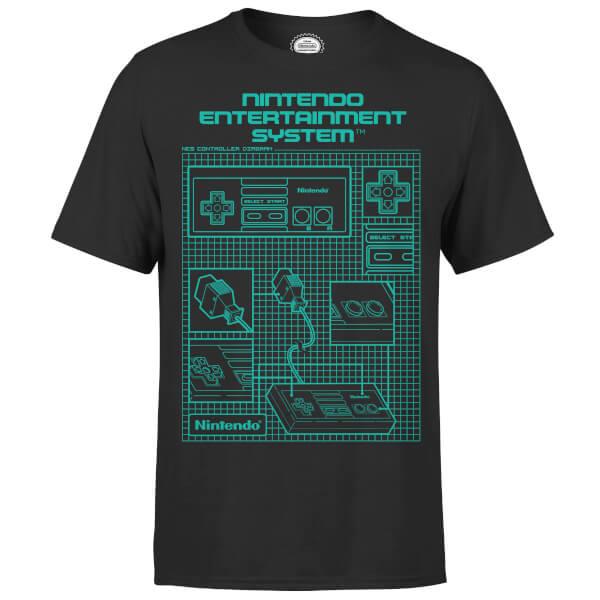 Nintendo nes controller blueprint black t shirt merchandise zavvi nintendo nes controller blueprint black t shirt malvernweather Choice Image