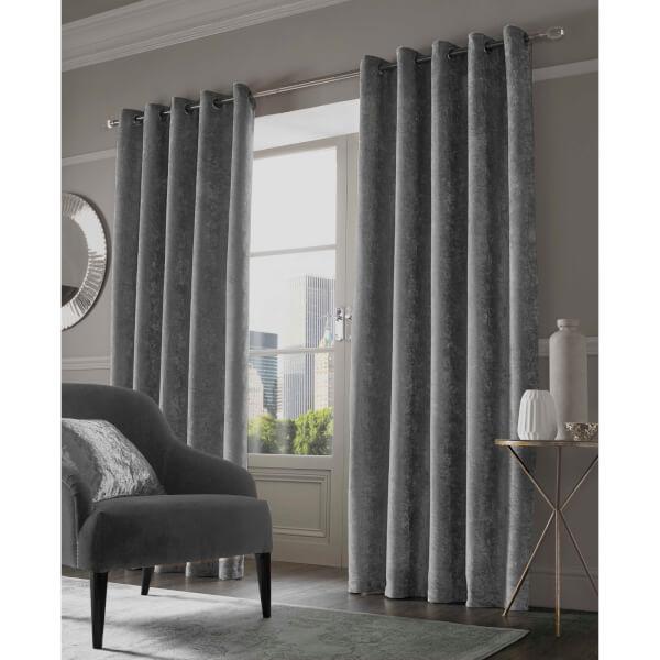 Sienna Eyelet Crushed Velvet Curtains