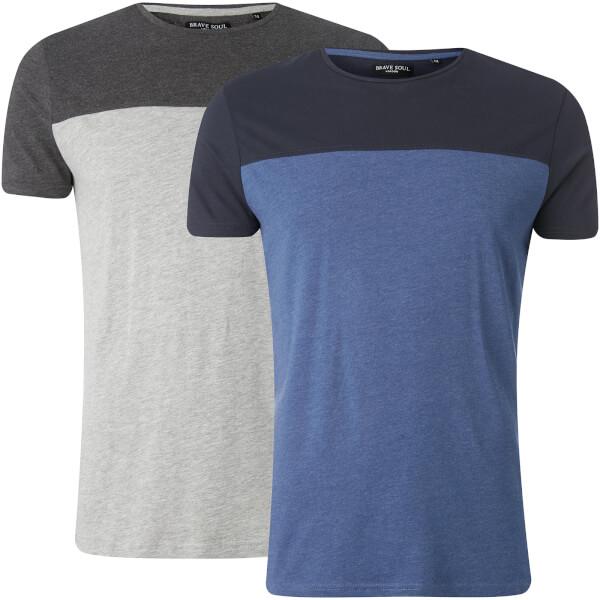 Brave Soul Men's 2 Pack Cayson T-Shirt - Light Grey Marl/Vintage Blue