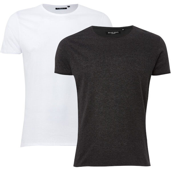Brave Soul Men's 2 Pack Fresher T-Shirt - Charcoal Marl/White