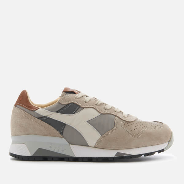 Diadora Heritage Men's Trident 90 Nyl Leather/Perforated Runner Trainers - Ghost Grey