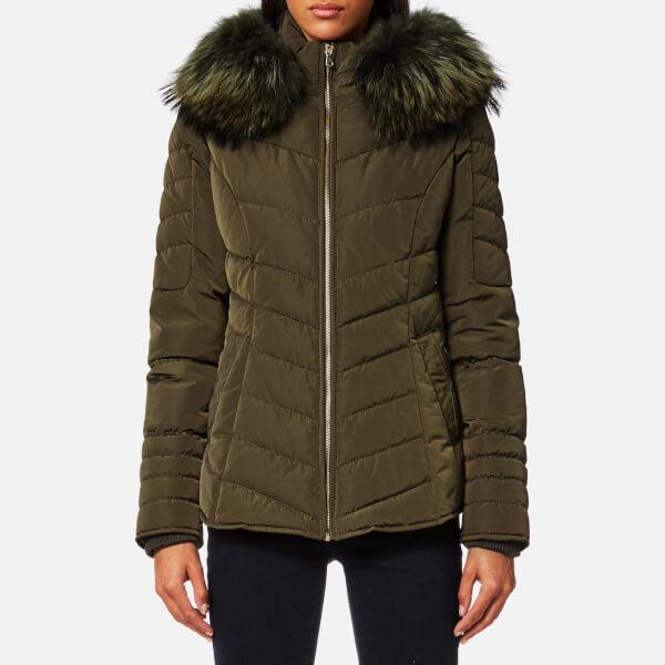 Froccella Women S Short Cheveron Big Fur Collar Coat