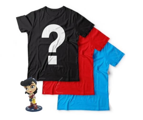 Epic Mystery Geek T-Shirts 3 Pack + Free Wonder Woman Figurine