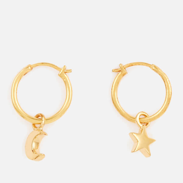 Missoma Women's Mini Star Moon Charm Hoops - Gold