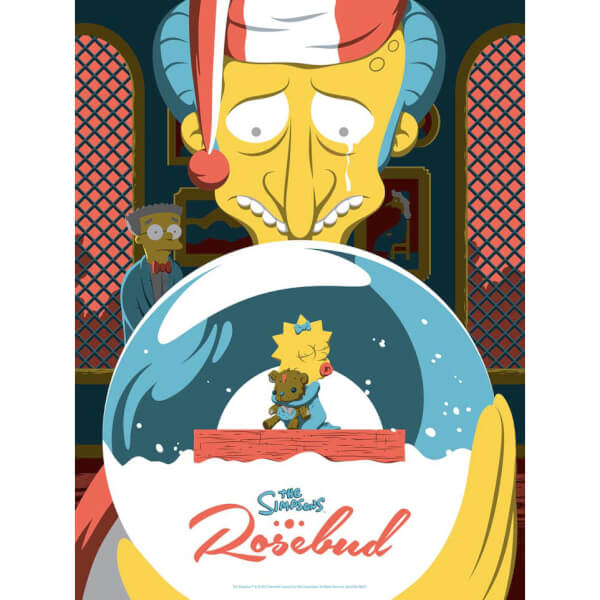 The Simpsons Rosebud Variant Silkscreen Print by Acme Archives Artist Florey (18 x 24 Inch) Limited to 100 - Zavvi UK Exclusive