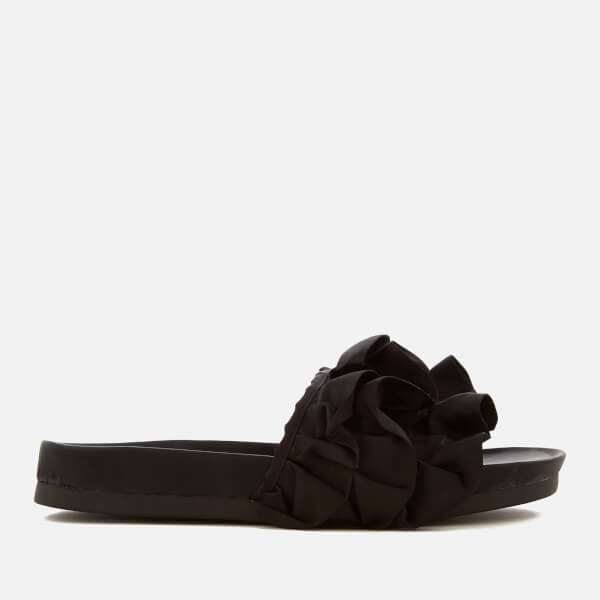 Miss KG Women's Ruffle Satin Slide Sandals - Black