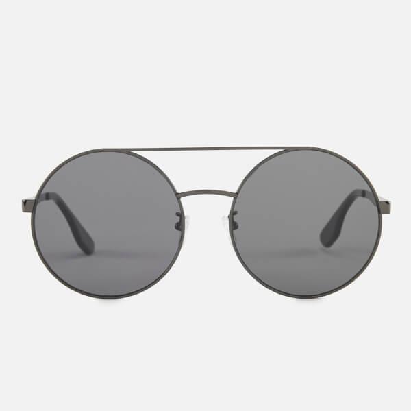 McQ Alexander McQueen Women's Round Metal Frame Sunglasses - Black/Black