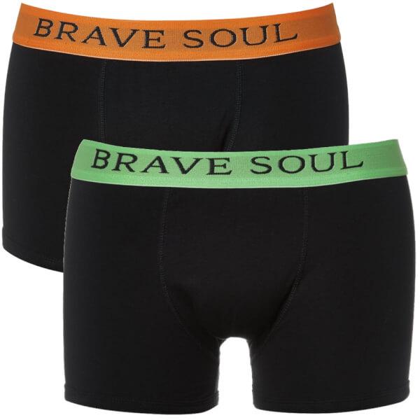 Brave Soul Men's Bruno 2-Pack Boxers - Black/Lime/Orange