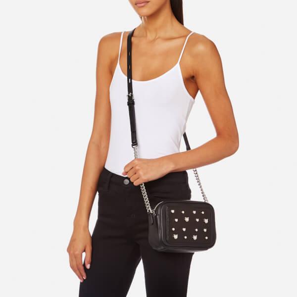 Karl Lagerfeld Womens Cat Pearl Small Cross Body Bag Black