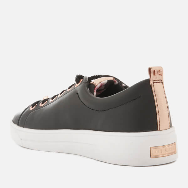 50d8f4acedec97 Ted Baker Women s Kellei Leather Cupsole Trainers - Black  Image 4
