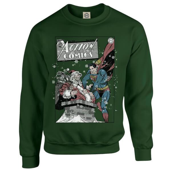 DC Comics Originals Superman Action Comics Green Christmas Sweatshirt