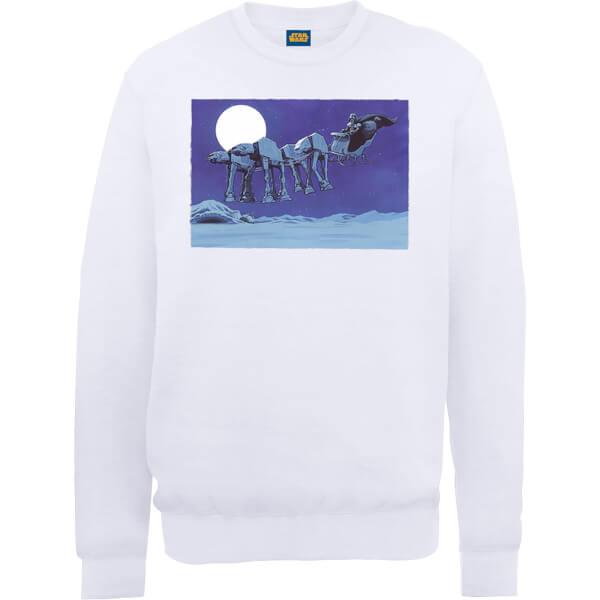 Star Wars Darth Vader AT-AT Christmas Sleigh White Christmas Sweatshirt