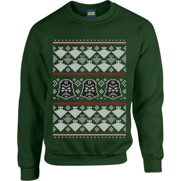 Star Wars Christmas Darth Vader Imperial Starship Knit Green Christmas Sweatshirt