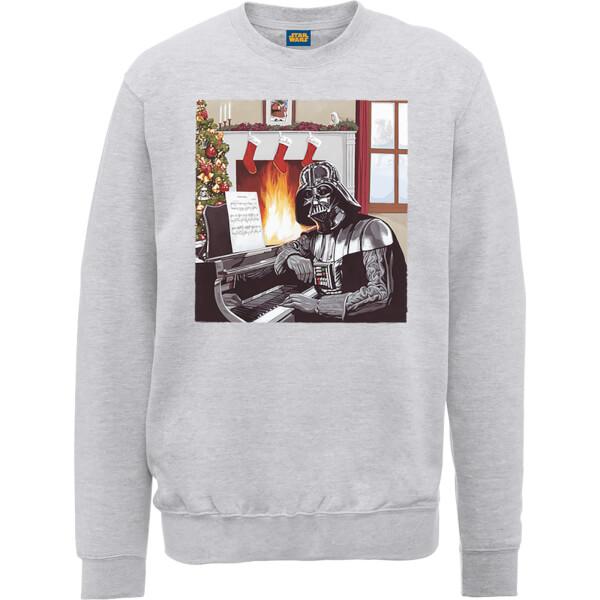 Star Wars Darth Vader Piano Player Grey Christmas Sweatshirt