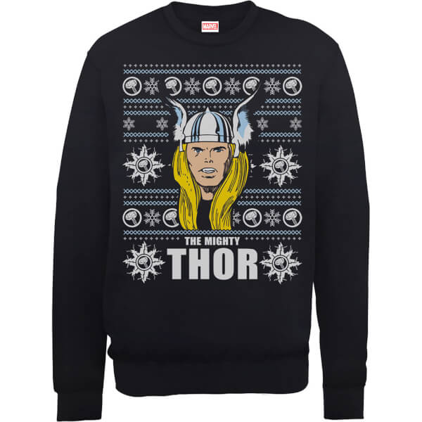 Marvel Comics The Mighty Thor Face Christmas Knit Black Christmas Sweatshirt