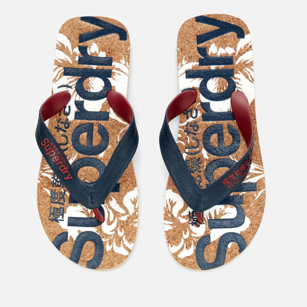 d7c44dd9e93f Superdry Men s Printed Cork Flip Flops - Darkest Navy Optic Hibiscus  Image  1