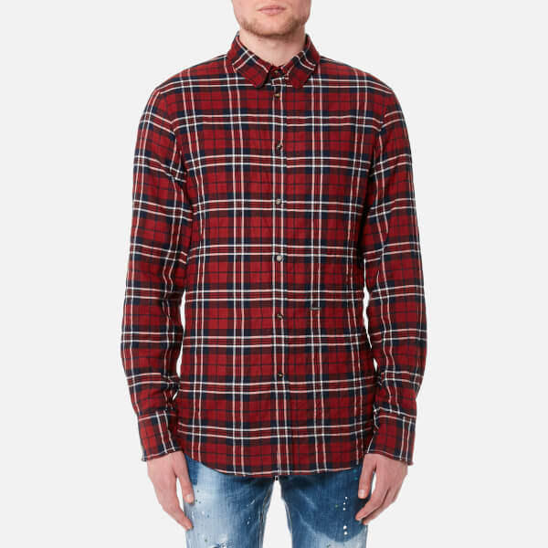 Dsquared2 Men's Wired Collar Check Shirt - Red/Blue: Image 1