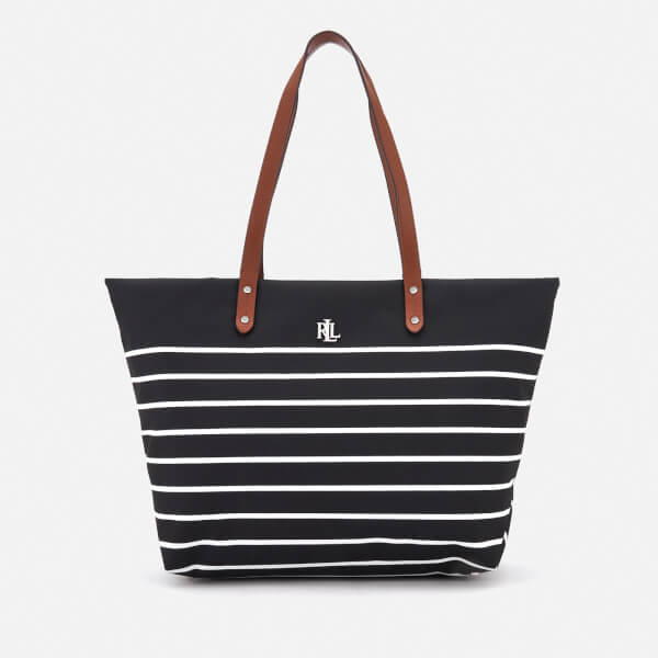 Lauren Ralph Lauren Women's Bainbridge Tote Bag - Black/White Stripe