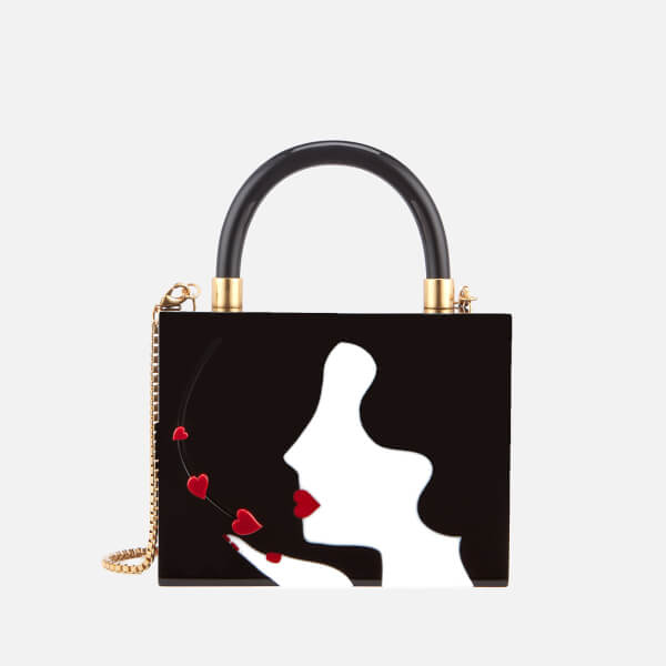 ab05cadd79f30 Lulu Guinness Women s Chloe Kissing Cameo Top Handle Bag - Black  Image 1
