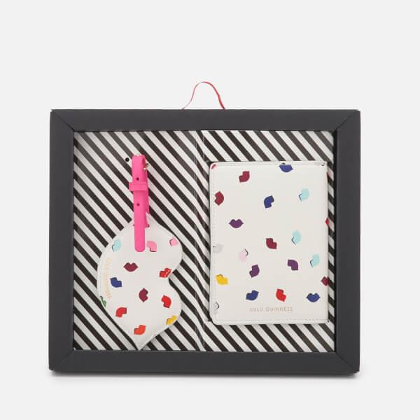 Lulu Guinness Women's Confetti Lip Print Travel Set - Pale Grey/Multi