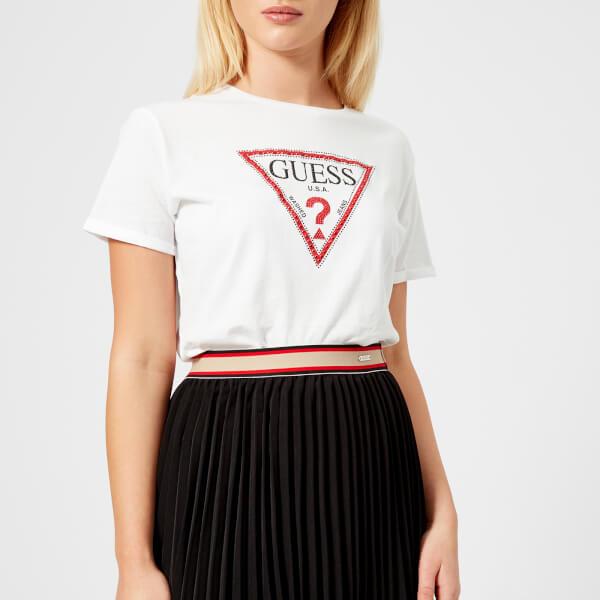 Guess Women S Triangle Logo T Shirt True White Image 1
