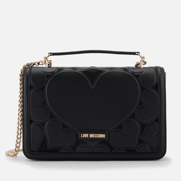 Love Moschino Women's Heart Embossed Cross Body Bag - Black