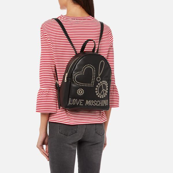 da638630efbb Love Moschino Women s Studded Logo Backpack - Black  Image 3