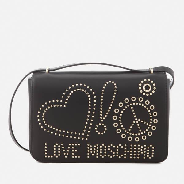 Love Moschino Women's Studded Logo Cross Body Bag - Black