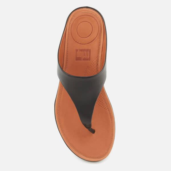 3fd6ffdfc FitFlop Women s Banda II Leather Toe Post Sandals - Black  Image 3