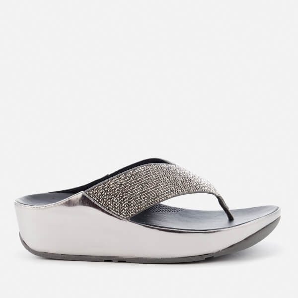 FitFlop Women's Crystall Toe Post Sandals - Metallic Pewter